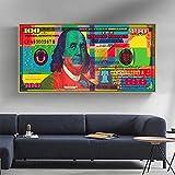 ganlanshu Imagen de Lienzo de Arte de Pared Lienzo de 100 dólares para Sala de Estar decoración del hogar Pintura,Pintura sin marco-60X120cm