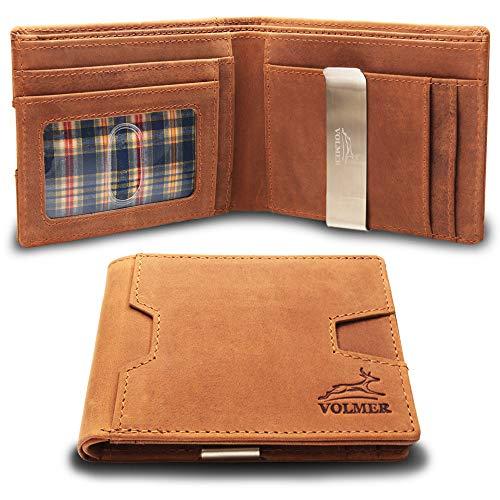 Fa.Volmer® Geldbörse   Portemonnaie aus 100% Leder mit Geldklammer für Herren und Damen mit RFID-Schutz   Geldclip, braun, mit Extra-Fach für z.B. Kleingeld   Geldbeutel VO25C-Jens (braun)