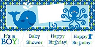 Giant Birthday Party Banner with Stickers, Ocean Preppy Boy