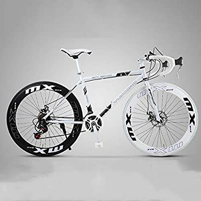 XSLY 2020 New 26 Inch Road Mountain Bike Curved Handle Cycling 24 Speed Disc Brakes Front and Rear Bicycles High Carbon Steel Frame Road Bicycle for Women Men Adult