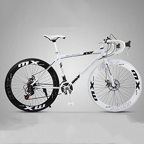XSLY 2020 Neue 26-Zoll-Straßen-Gebirgsfahrrad gebogener Griff Radfahren 24 Geschwindigkeit Scheibenbremsen vorne und hinten Fahrräder High Carbon Stahlrahmen-Straßen-Fahrrad for Frauen Männer Erwachse