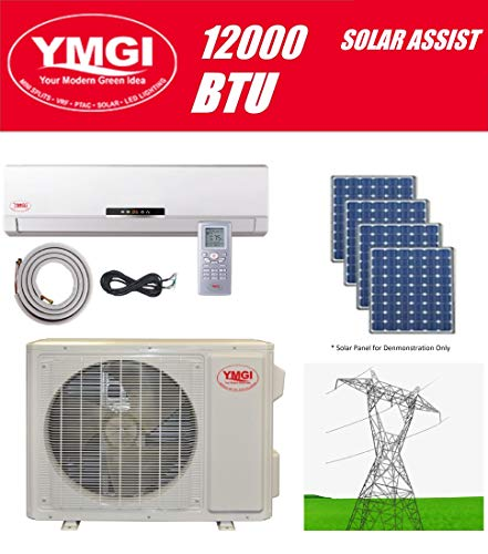 YMGI Ductless Mini Split Air Conditioner 12000 BTU up to 32 SEER Solar Assist Hybrid with Heat Pump with 15 Ft Installation Lineset Without Solar Panel