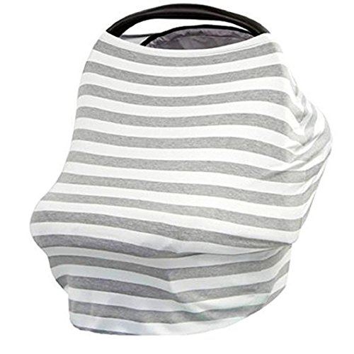 Amiley nursing breastfeeding cover scarf baby car seat canopy, shopping cart, stroller, carseat covers for girls and boys best multi use infinity stretchy shawl (Gray)