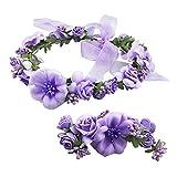 YSXY Frauen Mädchen Blumenkranz Blumenstirnband Blumenkrone Haarkranz Garland Halo mit Floral-Handgelenk-Band für Braut Fotografie Hochzeit Festival Violett