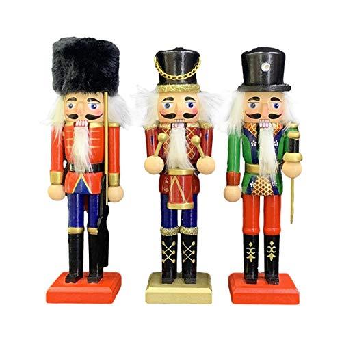 Weihnachten Nussknacker - 3 Stück 20cm Holz Nussknacker Soldat Figur Display für Weihnachtsdekorationen Home Office Desktop Puppe Puppenspielzeug Geschenk