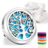 circular stainless silver essential oil diffuser with colored pads on inside