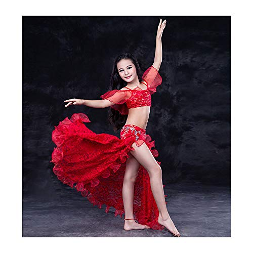 FFKL Niña Rendimiento Danza Ropa Vestidos Conjunto 2 Piezas para Espectáculo Competencia Danza Vientre Bonito Vestido Danza Vientre Alta Calidad,Red-S