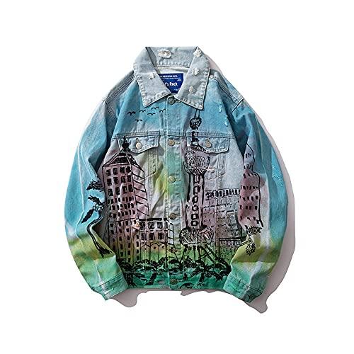 FLLLYQ Chaquetas de mezclilla para mujer, de gran tamaño, unisex, desgastado rasgado, chaqueta de mezclilla para mujer, degradado tie-dye con estampado de letras, Xl