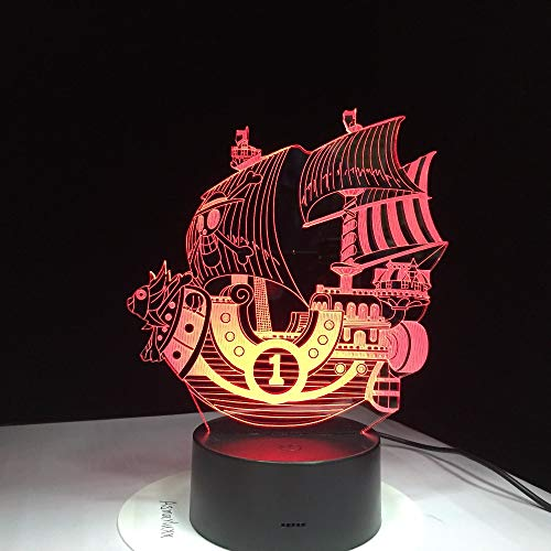 Boat Sailing Baby Night Light 3D LED Lámpara de mesa niños regalo de cumpleaños decoración de la habitación