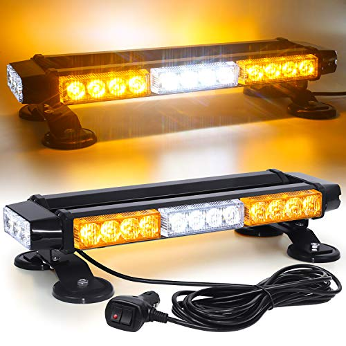 Linkitom LED Strobe Flashing Light Bar -Double Side 30 LED High Intensity Emergency Hazard Warning Lighting Bar/Beacon/with Magnetic and 16 ft Straight Cord for Car Trailer Roof Safety (Amber&White)