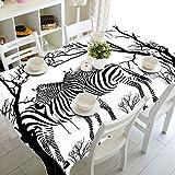 Cinnanal Rechteckig Tischtuch Gartentisch Polyester Wasserdicht Tischdecke Abwaschbar Kindertisch Branches Zebra für Esstischplatte Café Wohnzimmer 90X140cm Weiß Schwarz