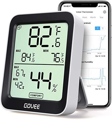 デジタル温湿度計 温度計 湿度計 Govee 3段階の快適度目安表示 LCD大画面 アプリコントロール 最高最低温湿度表示 置掛兼用 高精度 グラフ記録 温湿度異常アラーム機能付き bluetooth ワイヤレス 室内