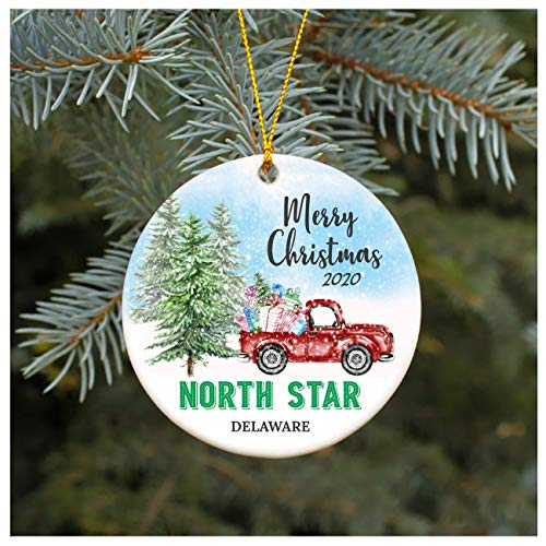 Christmas Ornament 2020 North Star Delaware DE Christmas Decoration Funny Gift Christmas Together First Christmas as a Family Couples Gifts Boyfriend Girlfriend 3' Flat Circle