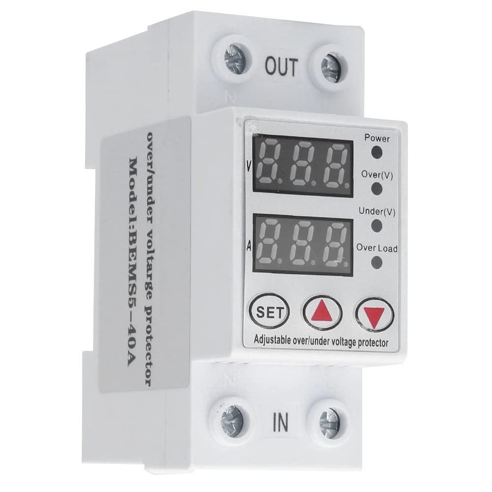 Protector de voltaje, BEMS5-40A 230V Protector de sobrecorriente digital inteligente de sobrevoltaje 40A, compatible con la instalación de riel estándar de 35 mm