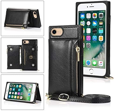 SLDiann Case for iPhone SE 2nd Generation 2020, Zipper Wallet Case with Credit Card Holder/Crossbody Long Lanyard, Shockproof Leather TPU Case Cover for iPhone SE2 and iPhone 7/8 (Color : Black)