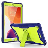 TOPSKY iPad 7th Generation Case,iPad 10.2 Cases,iPad 8th Gen Cover with Kickstand,Shockproof Anti-Scratched Protective Hard Strong Case for iPad 7th/8th gen 2019/2020 10.2 inch (Blue+Yellow)