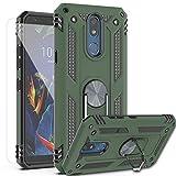 AYMECL LG K40 , LG K12 Plus , LG X4 (2019) , LMX420 Hülle mit HD Bildschirmschutzfolie, [Militärqualität] 360 Grad magnetische Unterstützung, Metallring, stoßfeste Abdeckung für LG K40-ST, Grün