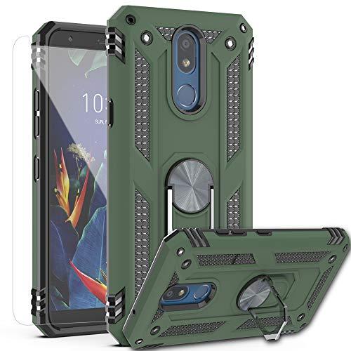 AYMECL LG K40 , LG K12 Plus , LG X4 (2019) , LMX420 Hülle mit HD Displayschutzfolie, [Militärqualität] 360 Grad magnetische Unterstützung, Metallring, stoßfeste Abdeckung für LG K40-ST, Grün