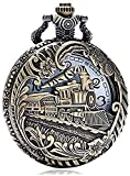 ETRVBSWE Reloj de Bolsillo Vintage Locomotora de Moda Nostálgico Reloj de Cuarzo Cadena Navidad