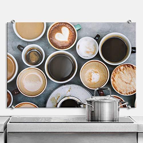 Spritzschutz Kaffee Variationen Küche Küchenrückwand Getränk Genuss Heißgetränk Kaffeebohnen Tassen Becher Cappuccino mit Klemmhalterungen Wall-Art - 80x60 cm