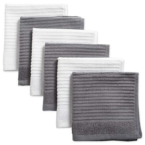 DII - Paños de Cocina 100% algodón Ultra absorbentes para Limpieza de Secado de Lujo, Rizo Acanalado para la Cocina Diaria, Juego básico de 12 x 12, 6 Unidades, Color Gris, paño de Cocina S Piece