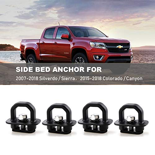 4pcs Tie Down Anchors Truck Bed Side Wall Anchor for 07-18 Chevy Silverdo GMC Sierra 15-18 Chevy Colorado GMC Canyon Pickup DZ97903