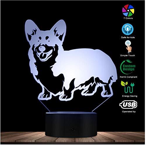 Weihnachts Cardigan Welsh Corgi Hund entworfen Lampe 3D optische Täuschung Nachtlicht Tier Pet Hound Welpen Rasse LED Nachtlicht Tischlampe Geschenk