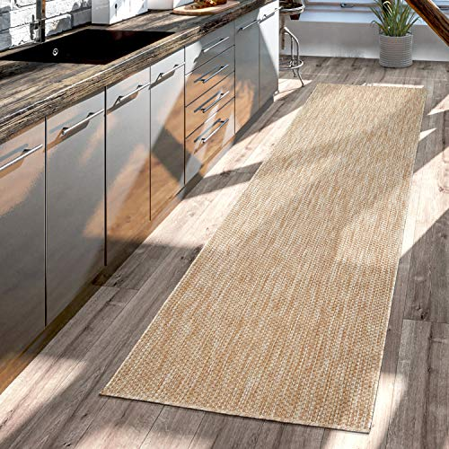 Tapis pour Extérieur Tapis De Cuisine Balcon Terrasse Design Uni Moderne, Couleur:Nature, Dimension:80x250 cm