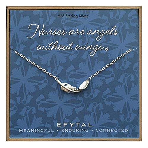 EFYTAL Gifts for Nurses, 925 Sterling Silver Feather Necklace for Nurse, National Nurses Day Gift, Thank You Jewelry Gifts for Her