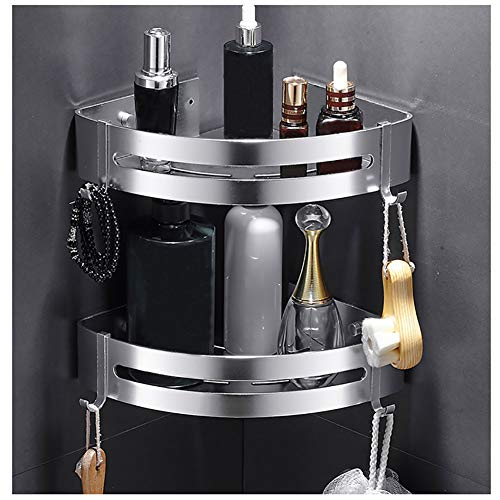 Kazeila Duschregal Eckregal - Bad Duschwanne mit 2 Haken - Duschkorb - Ohne Bohren - Raum Aluminium, Poliert (Dreieck) -2 Pack