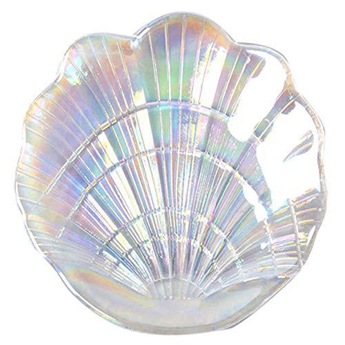 Elegante plato de anillo de cristal con forma de concha, 2 bandejas de cristal con purpurina para joyas, bandeja de cristal de colores brillantes, bandeja para aperitivos, caja de jabón, decoración pa