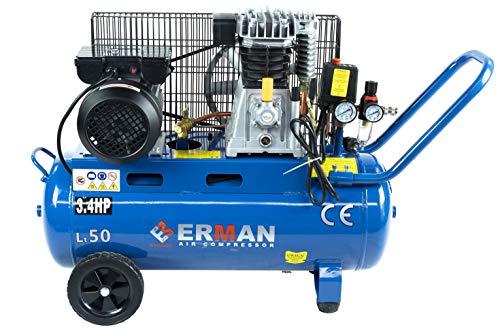 Oil AIR Compressor 50L / 13.2GAL Tank 2.2KW 3.4HP ERMAN + Drainer Pressure 8bar