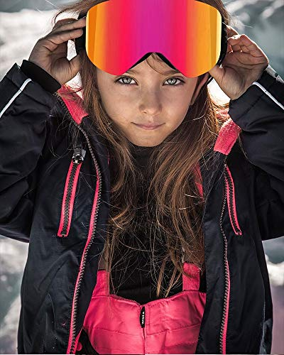 RCFRGV Ski Goggles Kids Ski Goggles, 5 To 18 Years Boys and Girls, Magnetic Snow Goggles Anti Fog Lens, Uv400, Youth Kids Ski Glasses