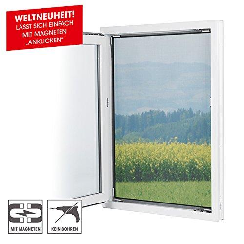 Preisvergleich Produktbild EASYmaxx Fenster-Moskitonetz mit Magnetbefestigung 150 x 130cm,  schwarz