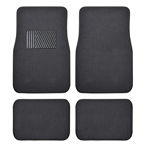 BDK Classic Carpet Floor Mats for Car & Auto - Universal Fit -Front & Rear with Heelpad (Charcoal) - MT100CC