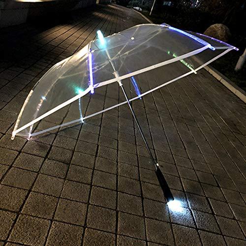 AN Transparenter Regenschirm, LED-Geschenk-Leuchtender Regenschirm Partei-Tätigkeits-Langer Griff-Regenschirm Transparent Kann Buntes Licht Senden
