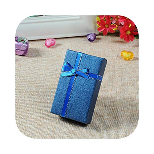 Juvenile shoulder Schmuckschatulle 5 * 8cm Schmuckset mehrfarbige Halskette/Ohrring/Ringschachtel Papierverpackung Geschenkbox Schmuck 24Stk / Los-Blue-
