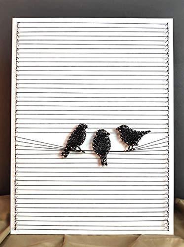 sswyfc Frameless handgemaakte garen schilderij nagel kronkelende lijn tekening vogel DIY decoratieve schilderij 30 * 40cm