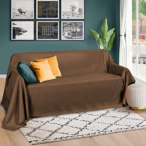 Beautissu Romantica Tagesdecke 210x280 cm - Wildleder-Optik Überdecke als Bettüberwurf und Sofaüberwurf Decke - Große Tagesdecken für Bett und Couch - Überwurfdecke in Dunkelbraun