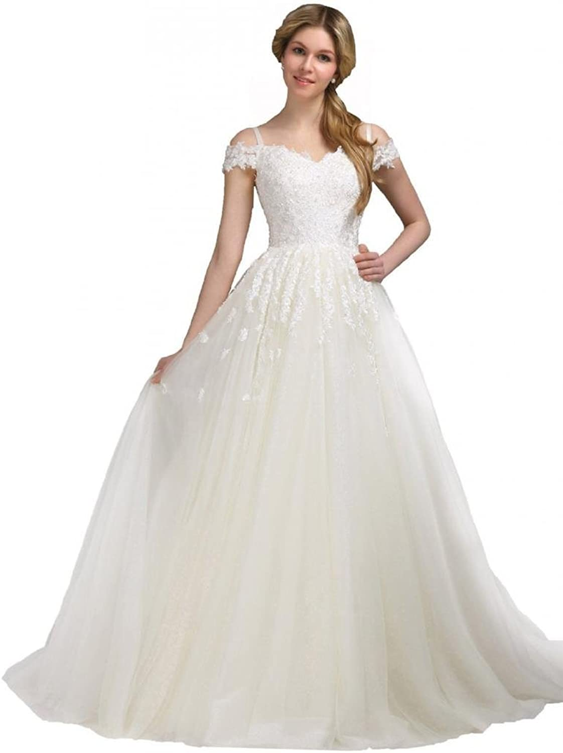 Dearta Women's ALine OffTheShoulder Portrait Court Train Wedding Dresses