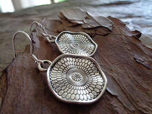 ✿ PENDIENTES DE PLATA MANDALA 925 Pendientes de gancho de plata genuina ✿