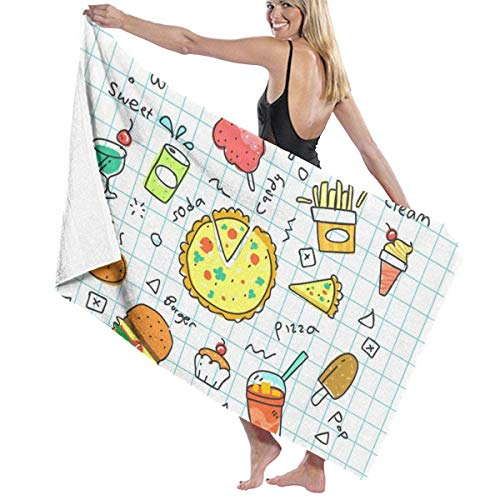 QUEMIN Pool Bath Towel Pizza Burgers Chip Soda Beach Towel Oversized Swim Shower Adults Blanket Portable Boat Sports Cloth 80 x 130 cm