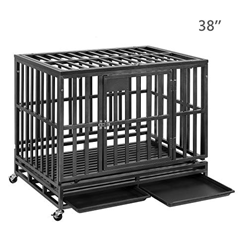 PUPZO Heavy Duty Dog Crate Pet Kennel Strong Steel with Four Wheels for Medium and Large Dogs,Easy to Install Outdoor Indoor Use (38-inch) Categories