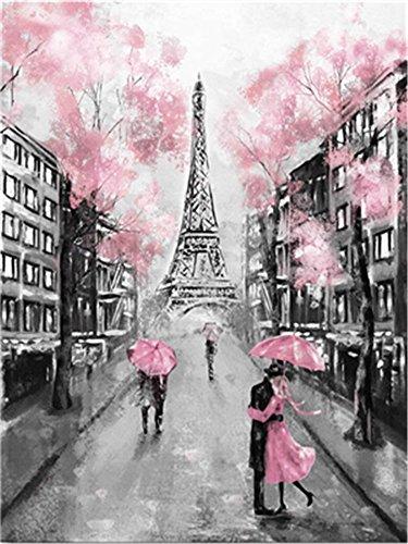 YEESAM ART Neuheiten Malen nach Zahlen Erwachsene Kinder, Paris Eiffelturm Romantisch Kirschblüte Rosa Blumen 40x50 cm Leinen Segeltuch, DIY ölgemälde Weihnachten Geschenke