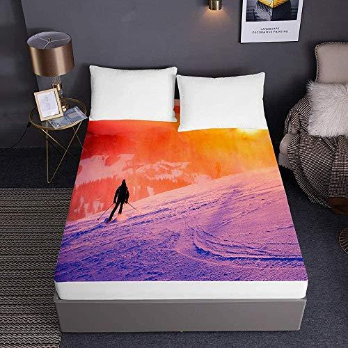 Bedclothes-Blanket atmungsaktive bettwäsche,Ski Bedruckte Spannbetttücher für Einzelbett Doppelbett mit Kingsize-Bett 3D-Bettwäsche Deep Pocket 30cm - Soft Microfiber Easy Care-150x200x30cm_2