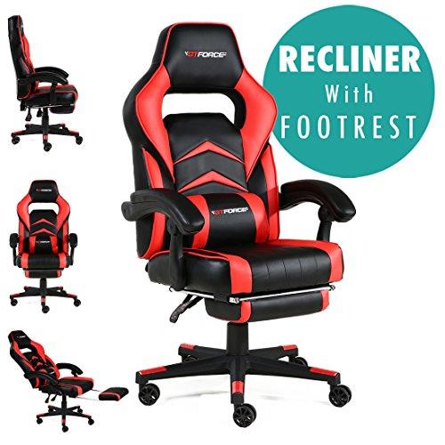 GTFORCE Turbo - Silla gamer reclinable para el ordenador - Ideal para casa y el trabajo - Cuero sintetico - Rojo