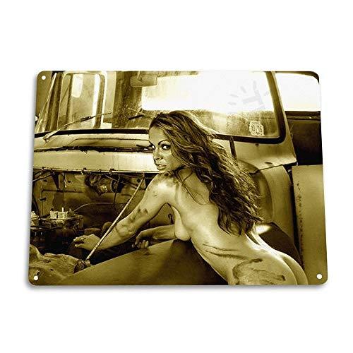 Hot and Humid Pin-up Girl Garage Grease Hot Rod Vintage Retro Tin Sign Metal Sign TIN Sign 7.8X11.8 INCH