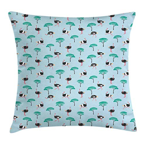 MLNHY Ostrich Throw Pillow Cushion Cover, Repetitive Pattern of Watercolor Style Trees and Long Legged Animal, Decorative Square Accent Pillow Case, Pale Blue and Multicolor,20 X 20 Inches