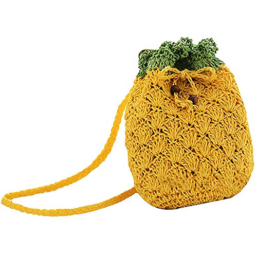 Sherry Mini Handbag Cute Fruit Straw Cross-body Bag Weave Summer Beach Travel Satchel Shoulder Bag Phone Pouch Coin Purse (Pineapple)