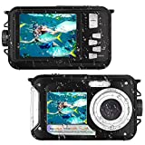 Waterproof Camera Full HD 1080P for Snorkeling 24.0 MP Underwater Camera 2.7 Inch TFT-LCD Dual Screen Waterproof Digital...
